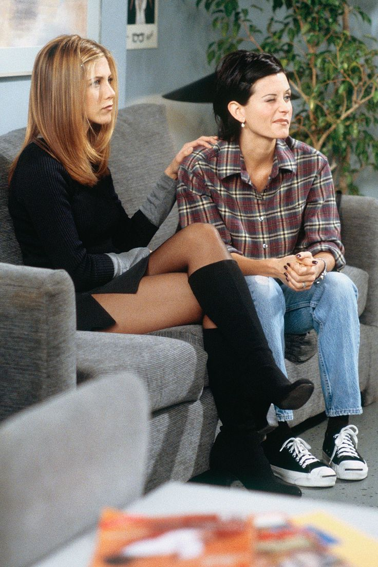 Monica's check shirt & Rachel's knee-high boots