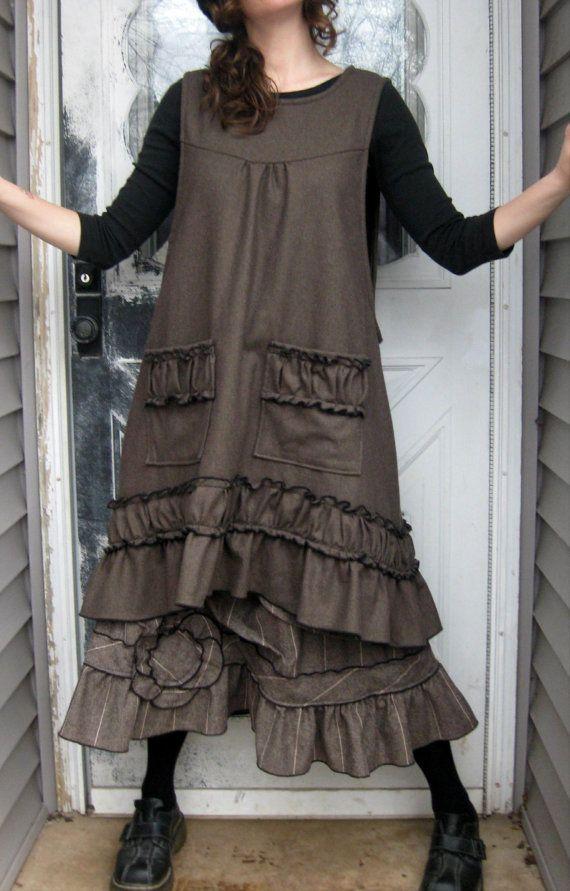 Stripe Wool Short Flower Ruffle Skirt L by sarahclemensclothing
