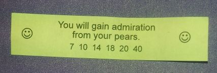 It's nice to know my food holds me in such high esteem. This is my favourite fortune cookie so far.
