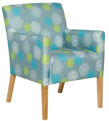 A and B Unit's -  Healthcraft: Loft medium back lounge chair with timber legs. Incontinence gap. Vinyl and Fabric.