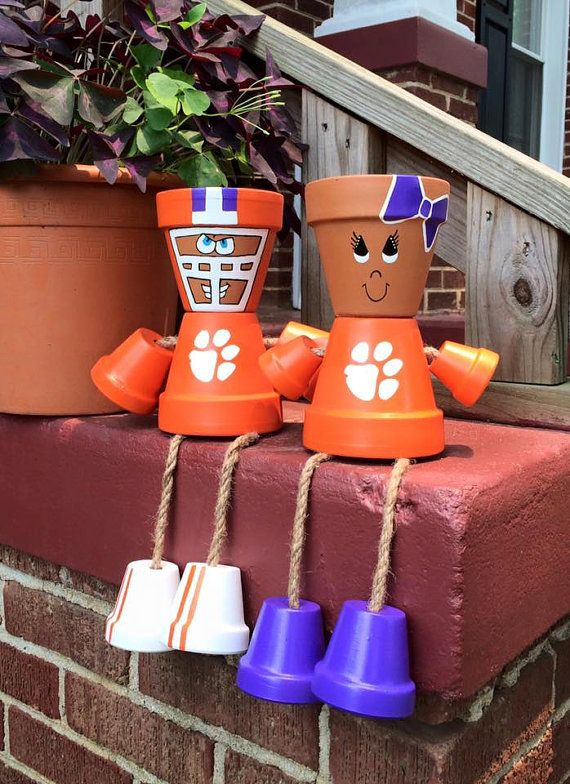 Hand-painted Flower Pot Person  Clemson by CreativeCreationsGWD