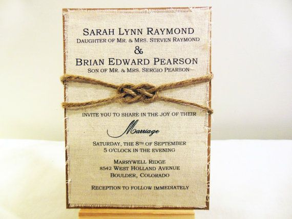 Rustic Wedding Invitation - Burlap Fabric Wedding Invitation - Custom Wedding Invitation - Also comes in a DIY version! by Poshest Papers on Etsy $3.50 each. Click this image for ordering info and other rustic designs!