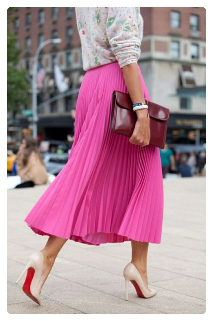 Pink Pleated Midi Skirt Redskirtz