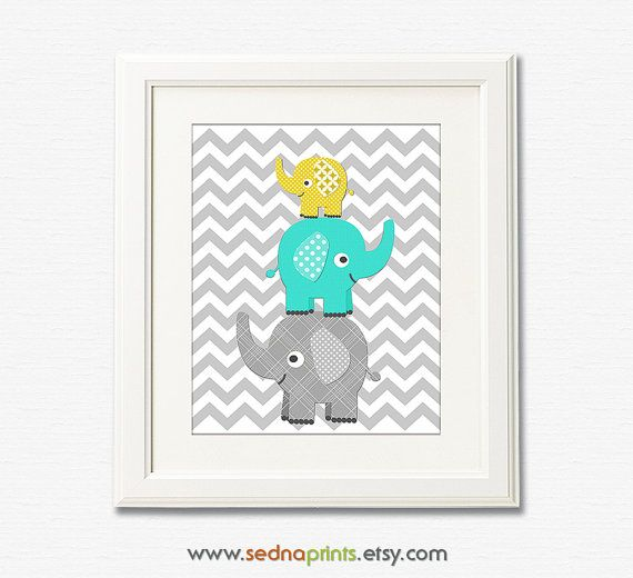 Aqua, Grey and yellow elephant nursery Art Print -8x10- Children wall art, stacked elephants, chevron, grey, turquoise, teal - UNFRAMED on Etsy, $13.50