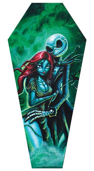 Jack & Sally Coffin Stretched Canvas