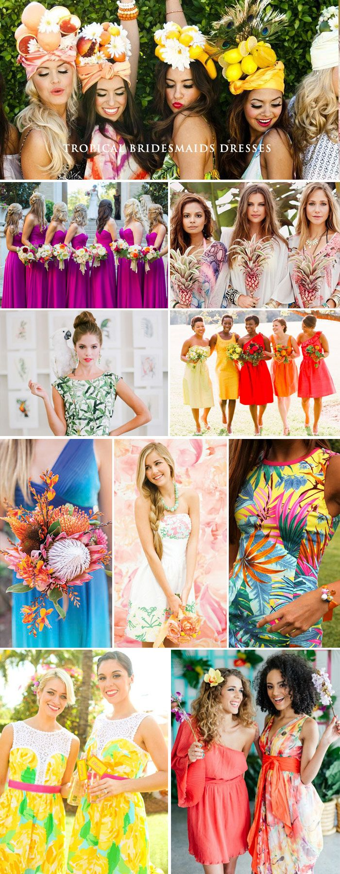 Today we're embodying the true spirit of tropical style. Ensure your girls look and feel every bit as beautiful on your big day with dreamy bridesmaids dresses. Forget grass skirts and coconut bodices, exotic attire can be just as chic for your Caribbean feast. With a Tropicana theme, there is no room to play it safe – opt for bright and bold color palettes or pretty paradisaical patterns