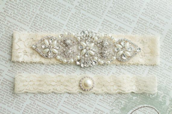 Ivory Wedding Garter Set Bridal Garter Set by MadeForHerCouture