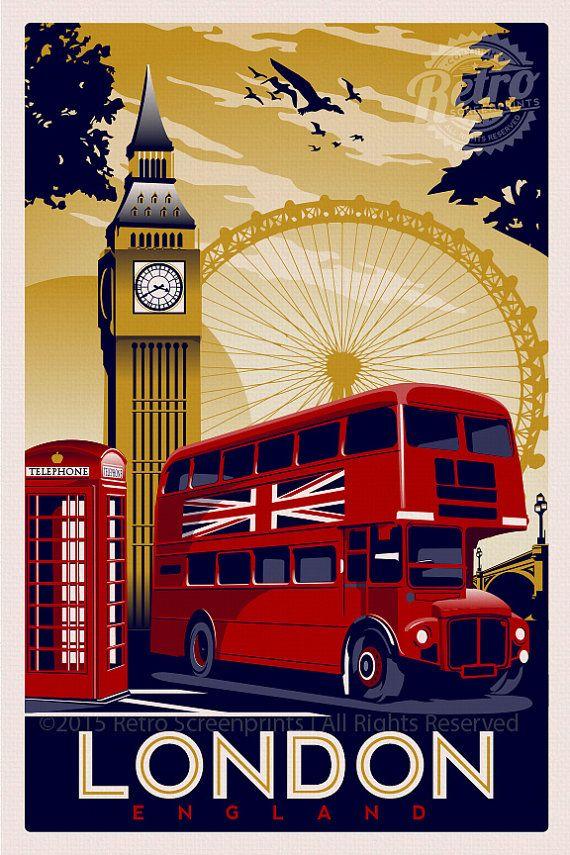 London England Vintage Retro Travel Screen от RetroScreenprints