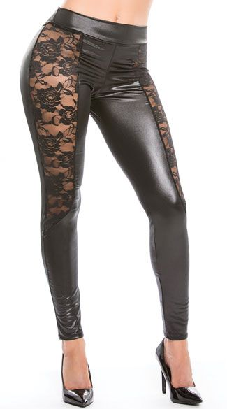 Hug your curves in these black wet look leggings featuring sheer lace side panels, a lace back panel, and a skinny leg. Black Vinyl and Lace Leggings, Black Vinyl Leggings, Black Lace Leggings