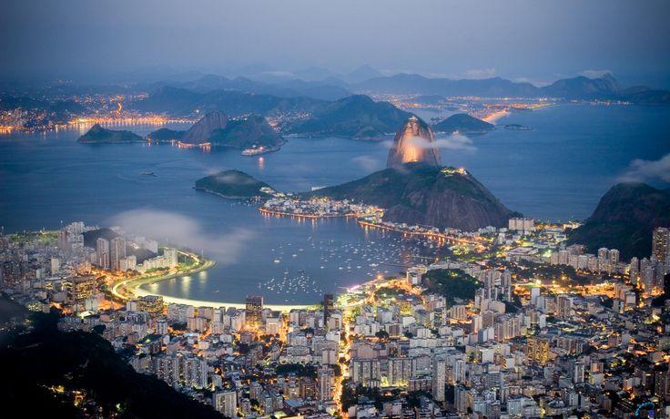 Обои для рабочего стола Вечерний Рио-де-Жанейро, Бразилия