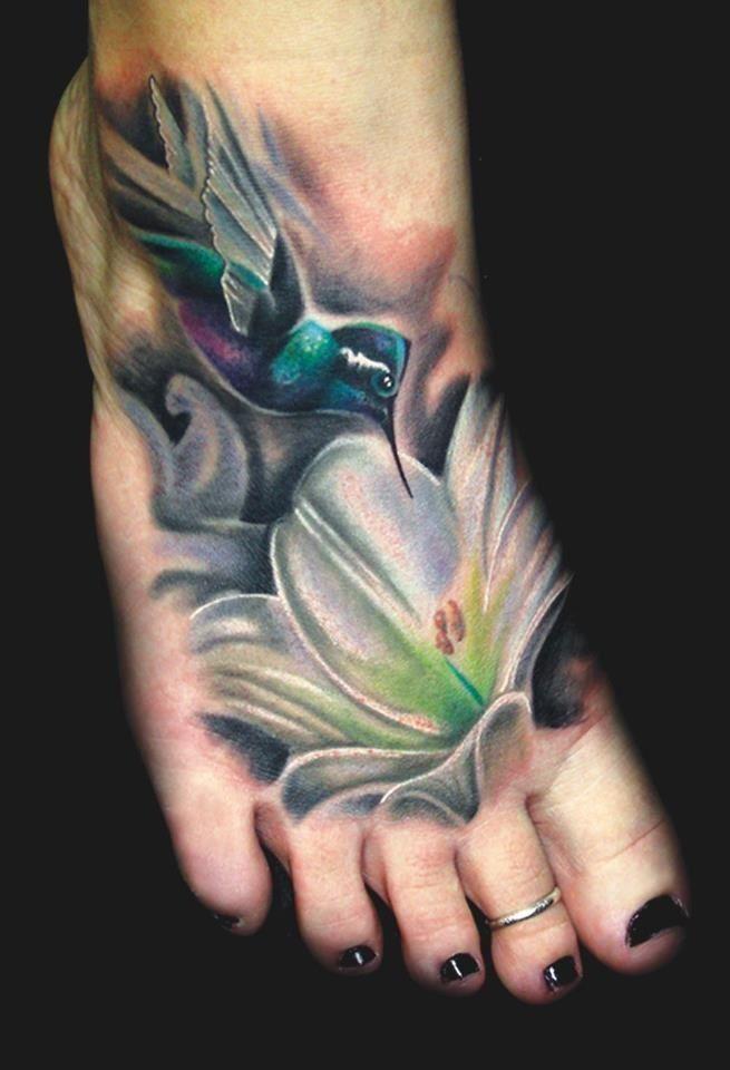 Hummingbird Flower Tattoos: Colorful Hummingbird Foot Tattoo