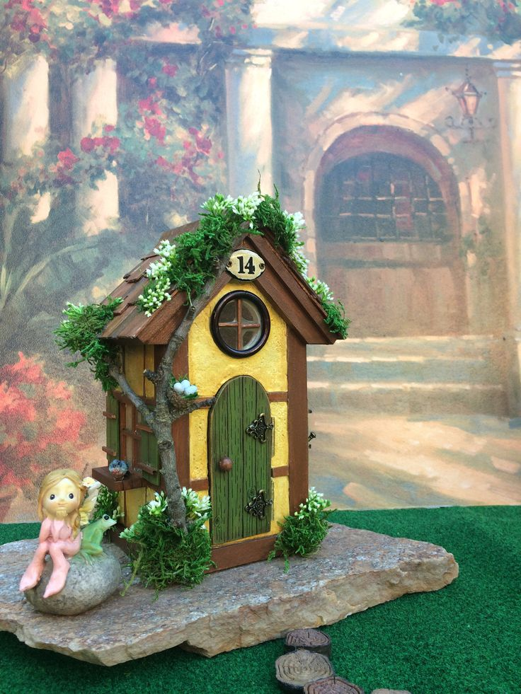 Fairy House/ Fairy House with Lights/ Fairy Garden House/Tutor style Fairy House/ Fairy nite light by TheHealersGarden on Etsy