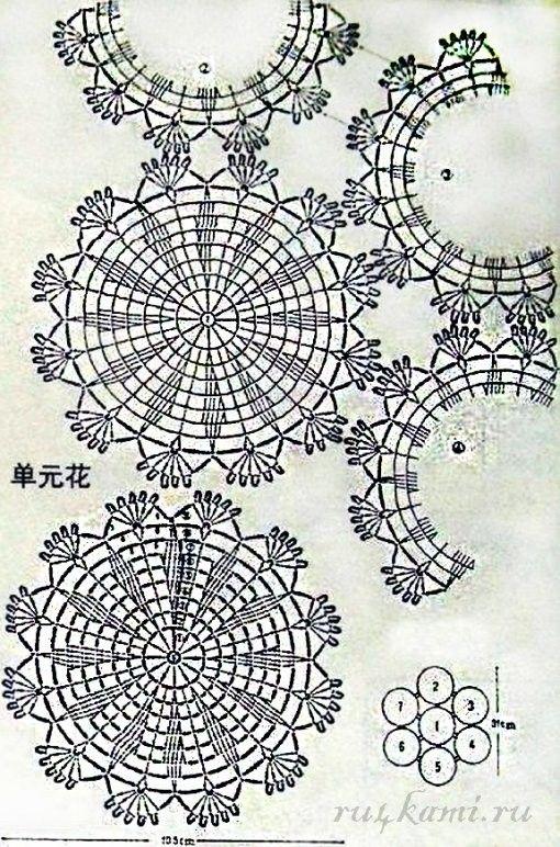 Mejores 1353 imágenes de Crochet Patterns & Tutorials ⊛doily⊛ 1 ...