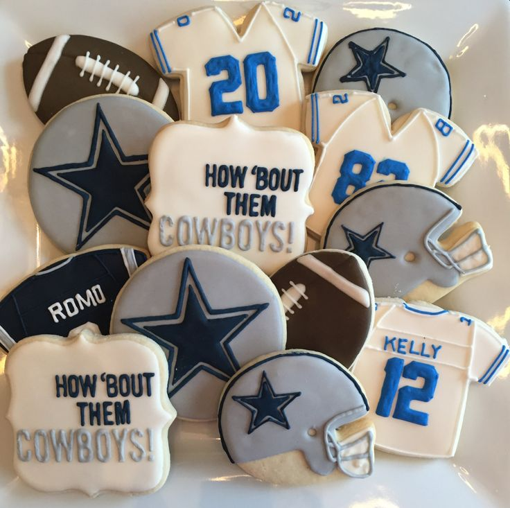 NFL Dallas Cowboys Hand Decorated Football Sugar Cookies- 1 Dozen Any Team (Football Sugar Cookies)