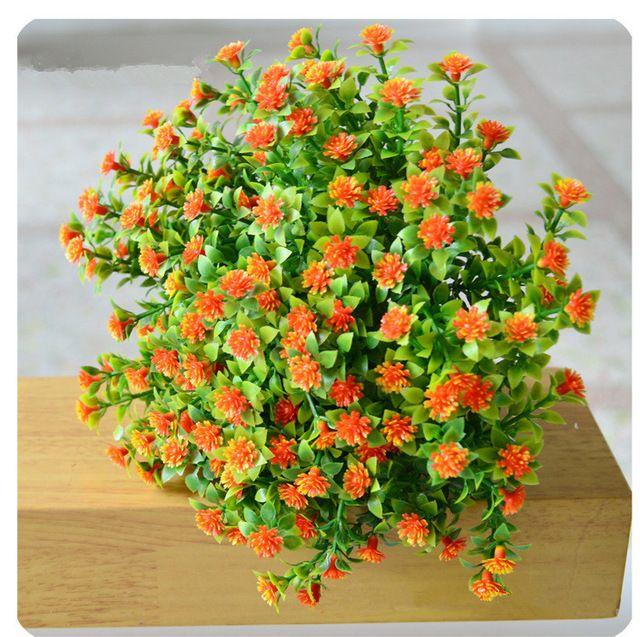 Vivid Симпатичные искусственный Miraflor цветок зеленые растения шелк цветок 6 филиал/букет без вазы мини трава украшение дома