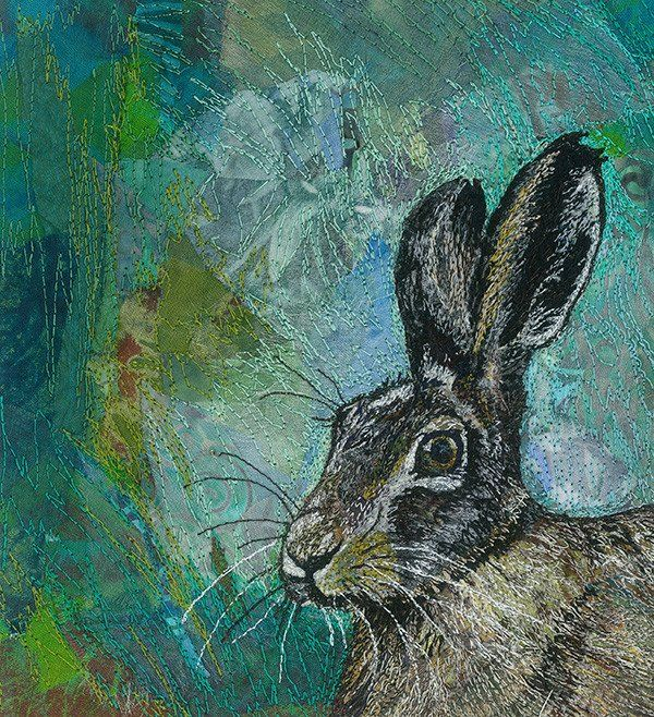 ❤ =^..^= ❤ Hare Today, Gone Tomorrow - textile art by Rachel Wright