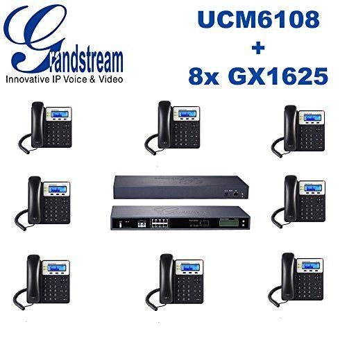 Grandstream UCM6108 8 Port IP PBX + 8x GX1625 2 line PoE HD IP Phones. 2 dual-color line keys (with 2 SIP accounts and up to 2 call appearances), 3 XML programmable context-sensitive softkeys, 3-way conferencing. HD wideband audio, superb dull-duplex hands-free speakerphonewith advanced acoustic echo cancellation and excellent double-talk performance. Dual-switched 10/100 Mbps ports, integrated PoE on GXP1625. HD wideband audio, superb dull-duplex hands-free speakerphone with advanced...