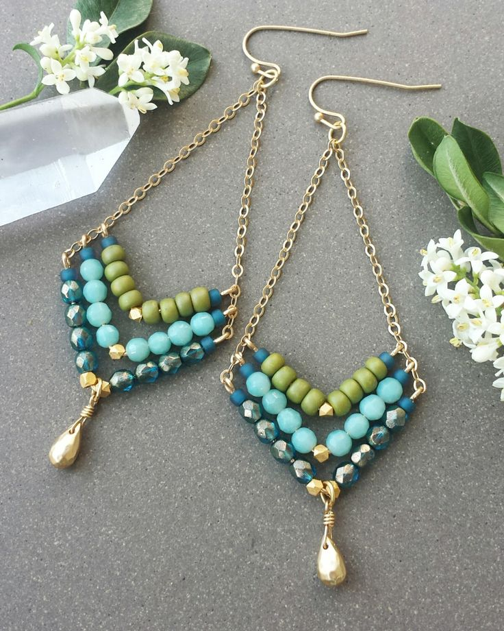 Beaded Gemstone Chevron EARRINGS in Gold >> Faceted Amazonite, Teal Luster, and Matte Sage Green Glass Beads >> Bright, Spring, Boho Style by MileHighBeads on Etsy https://www.etsy.com/listing/384928858/beaded-gemstone-chevron-earrings-in-gold