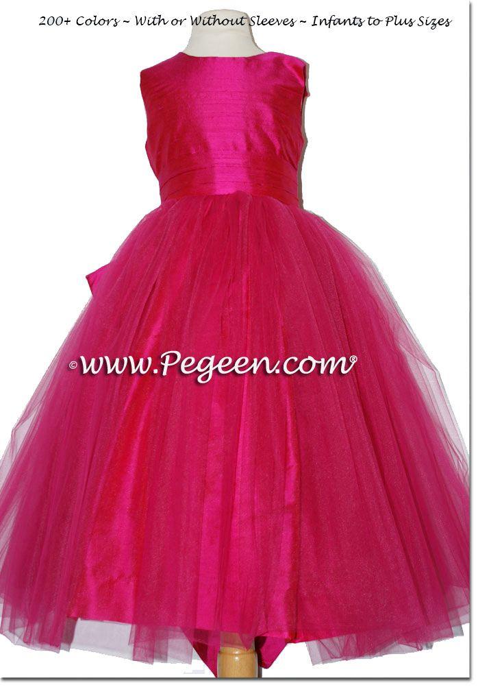2bb41b33b23 Raspberry Pink Pink Silk custom Flower Girl Dresses style 394