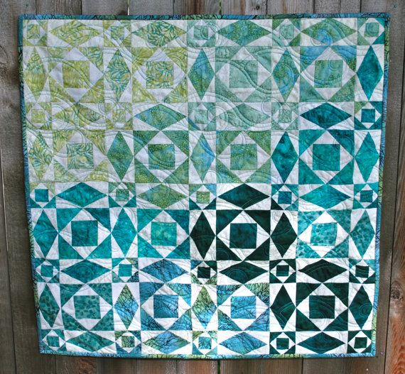 bastik turquoise quilt pattern | ... at Sea Quilt Wallhanging in Teal, Aqua, Turquoise, Celedon, Deep Green