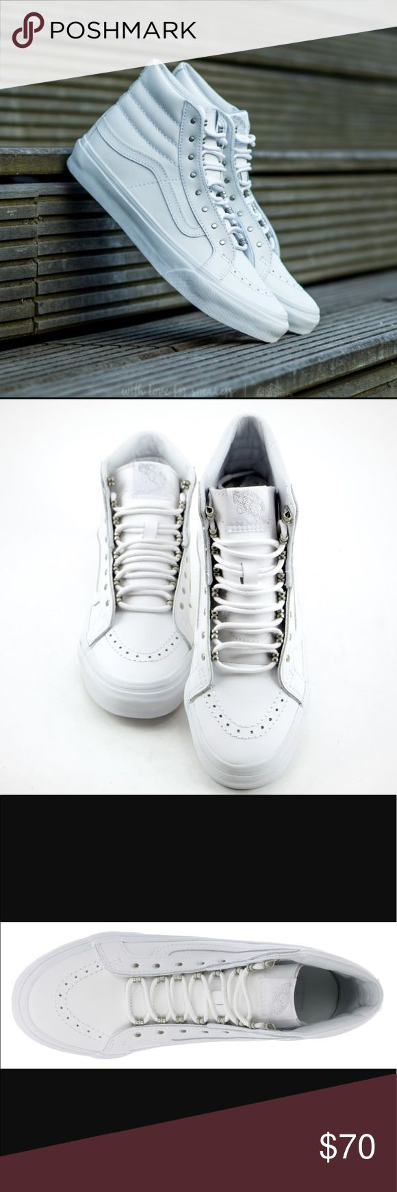 😍SALE😍SK8-Hi slim leather metal white vans Leather Slimmed down version of the legendary Vans lace-up high top Features metal rivets in place of eyelets Leather uppers Padded collars for support and flexibility Signature rubber waffle outsoles Vans Shoes Sneakers
