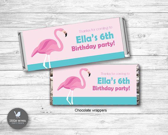 Flamingo Party Invitation flamingo Birthday Ideas chocolate candy wrapper label hersheys Aldi party favor favour
