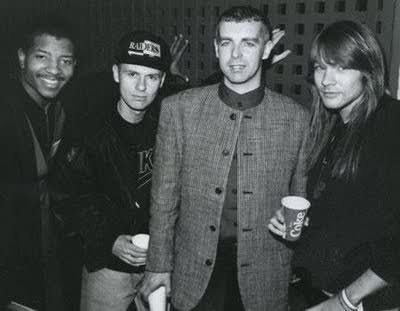 "hisheadsocool: ""Young MC, Chris Lowe & Neil Tennant (Pet Shop Boys), Axl Rose. 1991 """