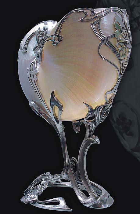 Art nouveau nautilus shell in silver