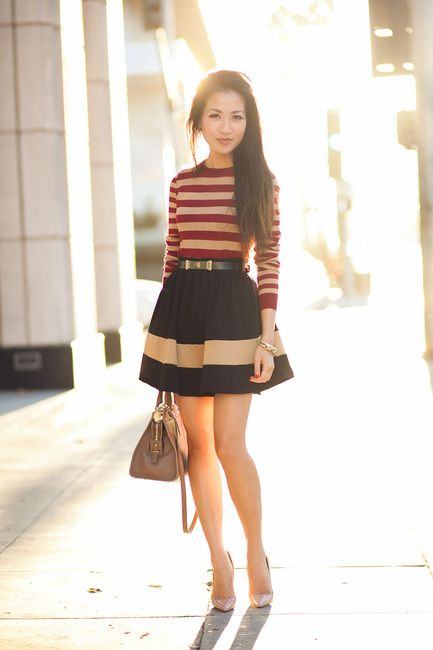 Soft Stripes :: Silk merlot   Wendyslookbook  Mixing stripes with stripes. This classic silhouette is perfected by the modest top paired with a short skirt. Cute but professional.