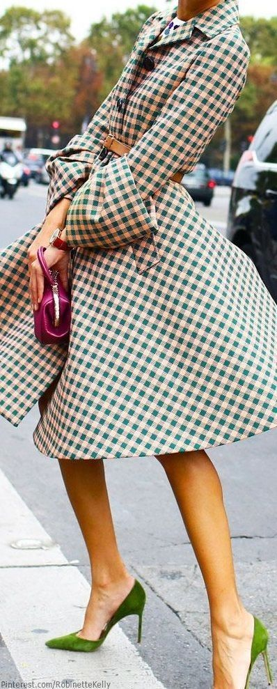 Love the shoes   Green and Pale Pink Gingham
