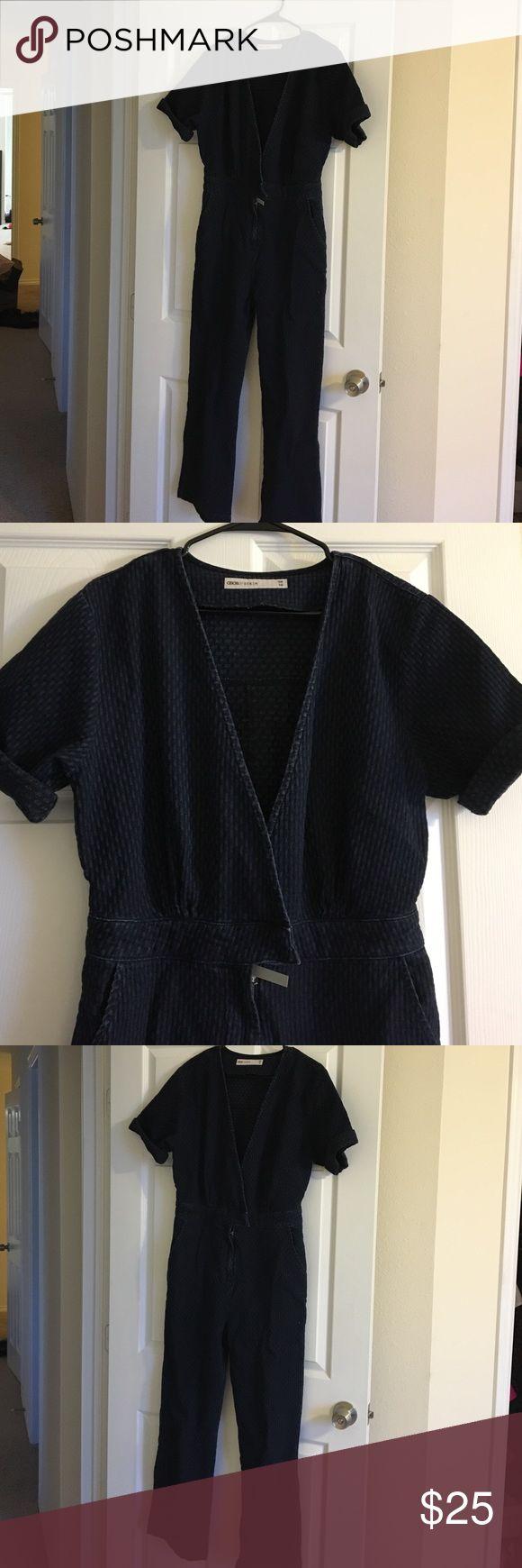 Dark Denim jumpsuit- ASOS Deep V necked, dark denim Asos Denim Jumpsuit UK 10 ASOS Other