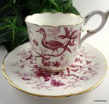 Lovely English COALPORT & Gold Pink Red Birds Bird Pattern Cup & Saucer Set: