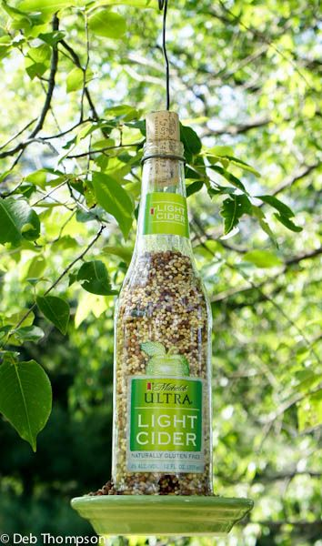 Homemade Wine Bottle Bird Feeder