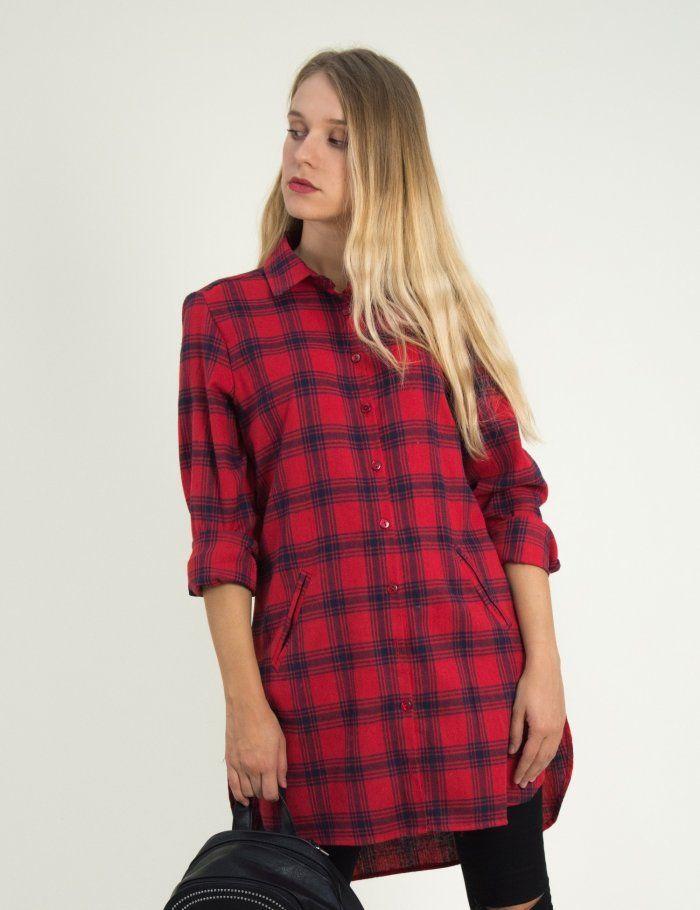 43e716340558 Γυναικεία κόκκινη καρό Oversize πουκαμίσα Benissimo 21982  τορούχο  torouxo   φθινοπωρινά  πουκάμισα