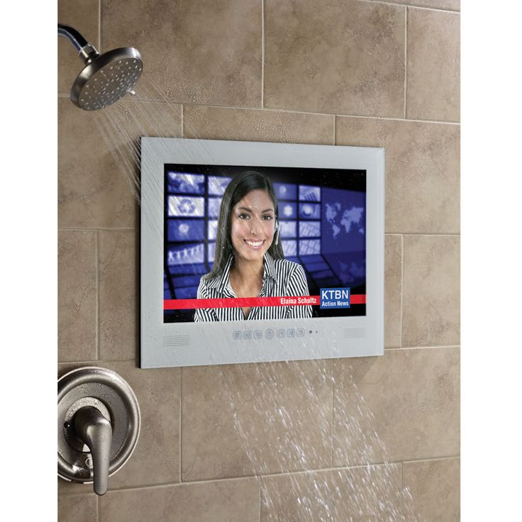 "The Home Spa Waterproof Television - This is the 17"" high-definition television that's impervious to water and humidity. All of the television components are sealed in a waterproof exterior that enables you to watch 720p high-definition content in a shower or home spa. - Hammacher Schlemmer"