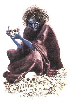 Annis la Negra es una bruja del folfklore escocés de piel azul y aficionada a la carne humana que se le relaciona con la imagen de una anciana aterradora sentada sobre un montón de huesos. Sus dientes y garras son de acero, y ni los más valientes salen a las calles de noche por el temor de topársela.