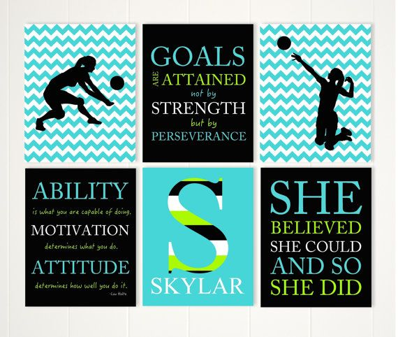 girl volleyball player volleyball room decor girls quote art volleyball wall art motivational girls art set of 6 - Volleyball Bedroom Decor