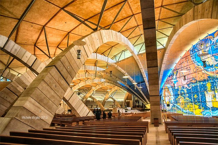 New San Pio's Church (Padre Pio) in San Giovanni Rotondo, Italy.   Designed by Renzo Piano.