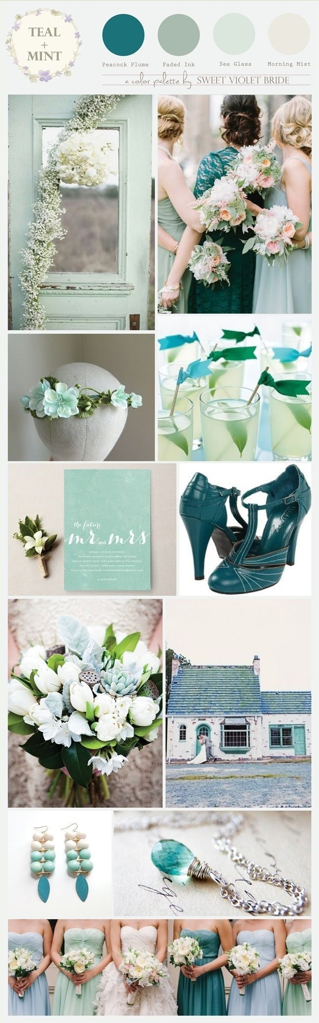 Color Palette : Teal + Mint/Sea Foam #wedding #inspiration
