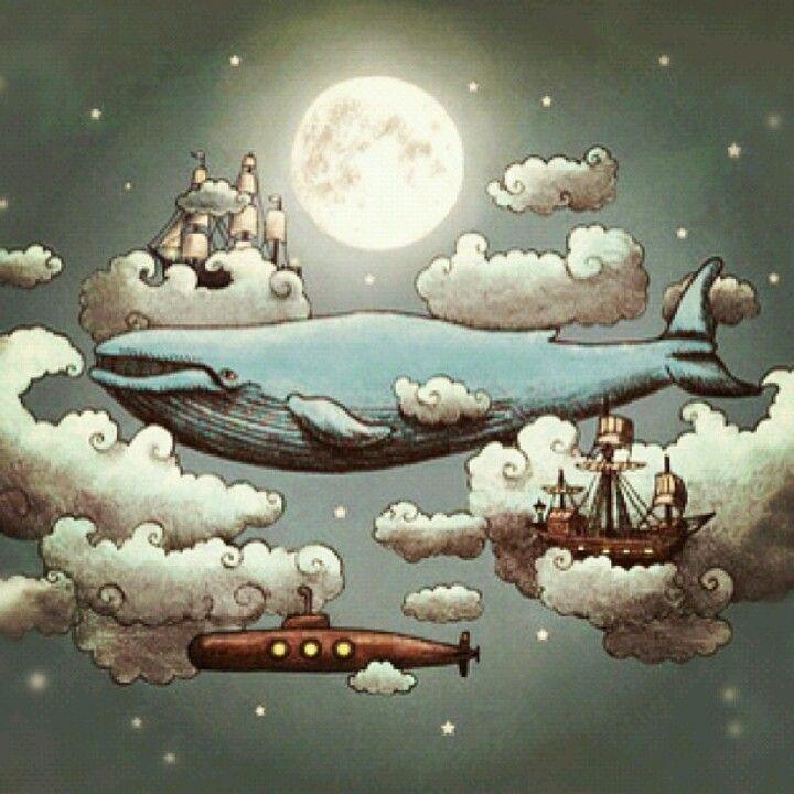 Whale, sky, ocean, cloud, ship, moon, submarine, dream, ...
