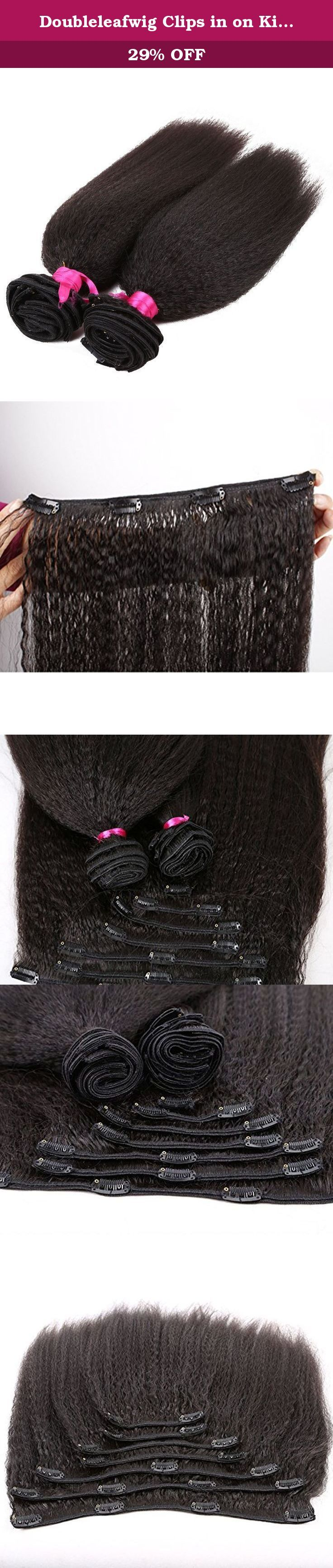 """Doubleleafwig Clips in on Kinky Straight Brazilian Virgin Remy Hair Weaves Unprocessed Natural Color Pack of 2 (14""""+16""""). Clips in All Machine Made Hair Weaves 7Pieces/Pack,2 Packs Styling For Full One Head Shown Hair Color:Unprocessed Natural Black Kinky Straight 109G-119G Each Set ."""