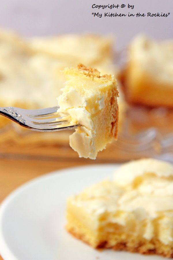 Neiman Marcus Cake. It has a vanilla cake bottom, and a sweet crunchy creamy cheese topping. The topping t reminds me of a German cheese cake with its creamy, but light consistency.. It is absolutely fantastic!