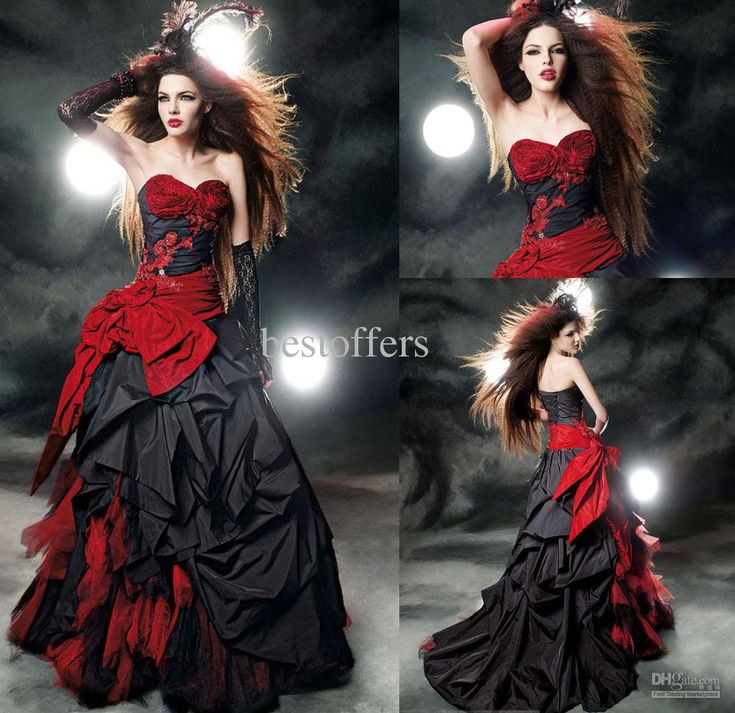 Gothic Wedding Dresses 2016 A Line Strapless Black Taffeta: Gothic Black And Red Quinceanera Dresses Ball Gowns 2016