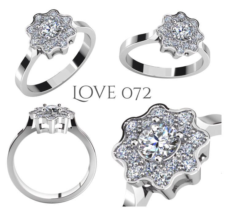 Zásnubní prsten ve tvaru rozkvetlého květu.