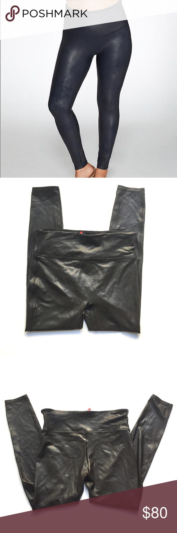 """🆕NWOT Spanx Black Faux Leather Leggings 1X Authentic Spanx brand (NOT Assets or any other lower-end line) leggings.  Floor model that has been tried on, no flaws. Slimming faux leather leggings that create an edgy look. Streamlined fit - perfect to tuck into boots. Faux leather textured stretch microfiber. I own 3 pairs of these and wear them ALL the time-they're so comfy and flattering! Size 1X, approx 15.25""""'across waist lying flat, 11"""" rise, 28"""" inseam. Model photo credit Bare…"""