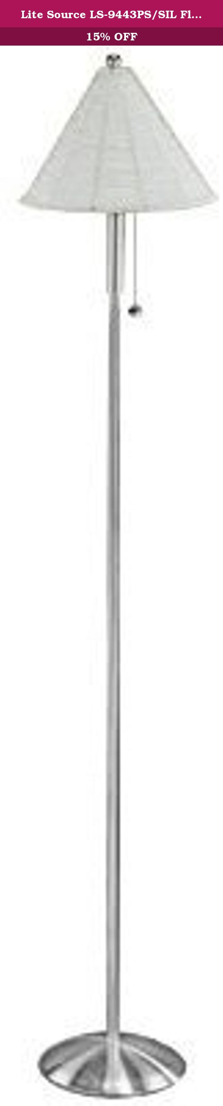 Lite Source LS-9443PS/SIL Floor Lamp with Silver Rattan Shades, Metal Finish. Lite Source has an exceptional line of quality products aimed to please even the most discerning of consumers. Relish in the design of this 1 light Floor Lamp; from the details in the Silver Rattan, to the double coated metal finish, this Floor Lamp is not only durable, but a tastefully elegant showpiece.