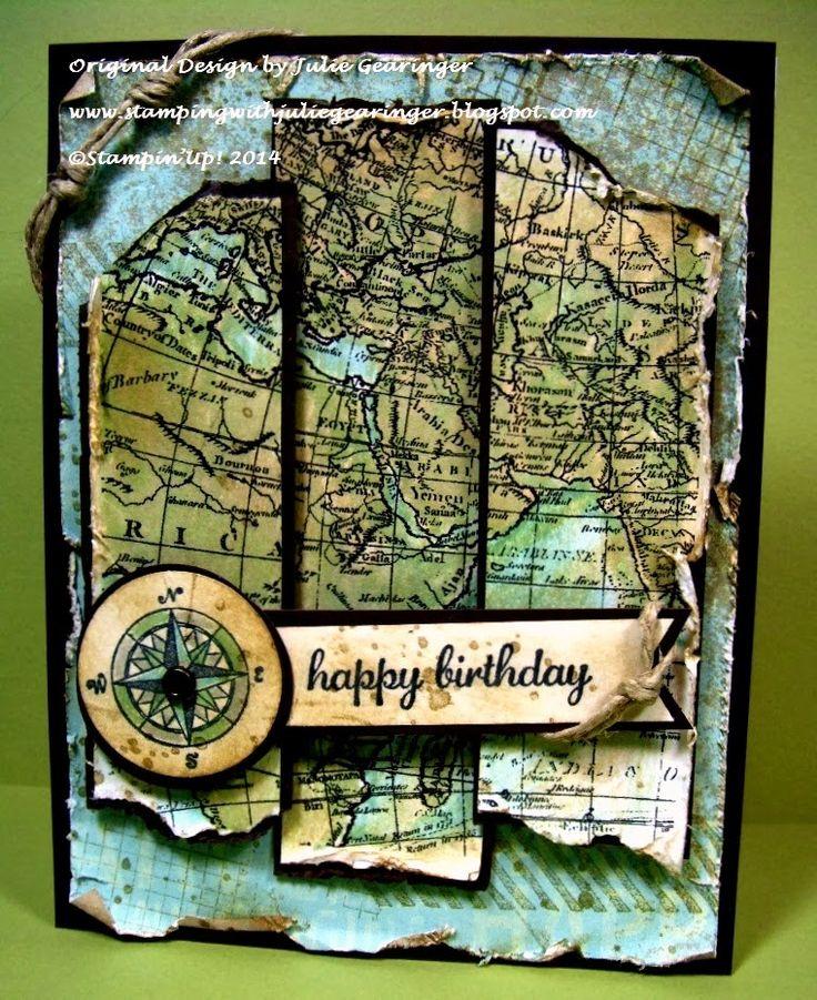 Stamping with Julie Gearinger: Stampin' Up! card- Vintage Old World Map…