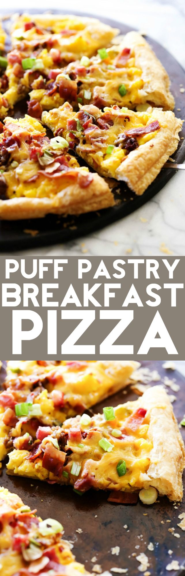 This Puff Pastry Breakfast Pizza is SO easy to make and is such a crowd pleaser…