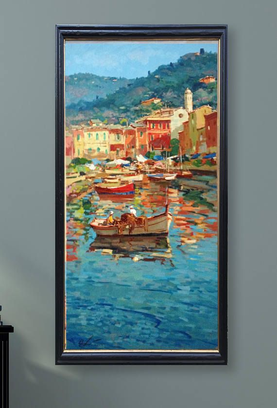 Portofino Italy Painting Seascape Painting Impressionist Art