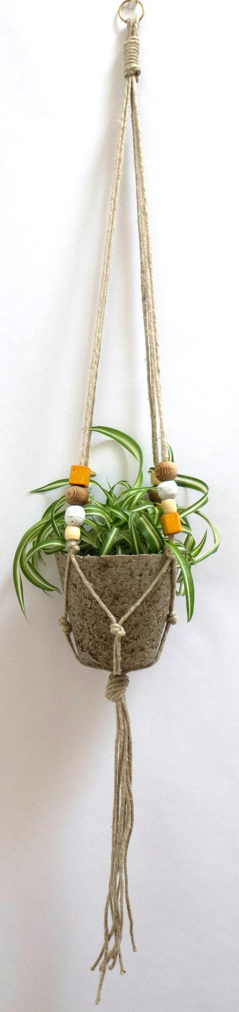 Hemp and Vintage Bead Big Muddy Plant Hanger